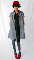 Suede hat from Brooklyn antique warehouse  vintage Dunderdon denim tunic from a Berlin thrift store  knee highs from Sockdreams  red pumps from eBay and necklace donated by Judith Altman from her collection at  a href  http   judithaltman com  target  _blank  judithaltman com    a  br  br      a href  http   theuniformprojectblog com annoucements announcing our 6 month anniversary party  HOW WILL YOU ACCESSORIZE TO THE NOV 7 PARTY   a   Come in black or white attire along with one fabulous piece of repurposed accessory  Rooftop view of Manhattan  DFA DJs and best accessory wins a potable prize   br  a href  http   theuniformprojectblog com annoucements announcing our 6 month anniversary party   b Party Details    b     a   a href  http   uniformprojectparty eventbrite com   b Get Tickets    b   a
