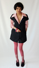 Vintage Polka dotted blouse with pink candy tights and clogs  Bakelite bangles donated by brooklyn vintage boutique  A HREF  http   www oldhollywoodmoxie com   target  _blank  Old Hollywood   A  