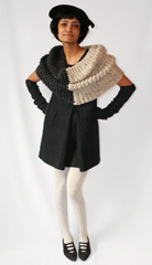 Handknitted cowl donated by   Dennice Mankarious  See more of her magnificent cowls at  a href  http   www etsy com shop fringe section_id 5271513  target  _blank  fringe etsy com   a  Vintage renaissance hat and edwardian pumps from eBay   br  br   The U P will be attending Pratt Institute s Sustainable Fashion Exhibit this evening at the Pratt Manhattan Gallery  Featured designers and artists include  a href  http   www smac us 2009 03 23 home made   target  _blank  SANS   a  and  a href  http   www pbs org art21 artists zittel card2 html  target  _blank  Andrea Zittel    a who did her version of uniforms years ago   br  a href  http   blogs fashionweekdaily com  p 22949  target  _blank  Read more here    a