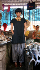 At the Powai fish market in a thirfted necklace from the dumbo flea market donated by Cat  Goan harem pants and vintage Huarache sandals from eBay