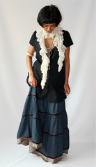 Lace boa found at a Pennsylvania auction  vintage denim maxi skirt