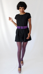 Chanel esque quilted suede belt from Etsy   Purple leggins and lilac pumps to match