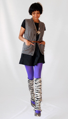 Vintage wool cardigan  zebra warmers  thrifted junk jewelry  purple tights from  A HREF  http   maps google com maps oe utf 8 rls org mozilla en US official client firefox a um 1 ie UTF 8 q sockman nyc fb 1 split 1 gl us cid 0 0 3494104476053105021 ei 8aggSu3KJca7tweH_7HCBg sa X oi local_result ct image resnum 1  Sockman  A   and gold pumps from ebay