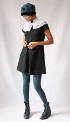 Shoulder capelet put together from a pair of removable ruffle top collars  Vintage ladybug cloche from ebay  And my favorite pair of Laredo lace up boots 