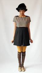 Pesky mime wear in asymmetric trilby hat and altered Tee from  A HREF  http   beaconscloset myshopify com collections all  Becaon s Closet   A  Paired with striped socks and vintage oxfords