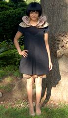 What I wore to the wedding  Silk tiered collar piece designed by  A HREF  http   eyelashers blogspot com   target  _blank  E J Starbuck  A    thanks Eliza   paired with a vintage doiley from eBay  Vintage gold cluster ear drops found at the Dumbo flea market  Thanks for the photos  Kes      