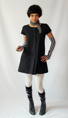 Grayscale ensemble with striped arm warmers  argyle wool socks and Laredo lace up boots