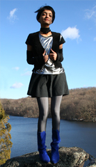 Fall country  upstate New York  Metallic tank and vintage suede vest from eBay  tights from Sockdreams and vintage slouch boots donated from Holly s Etsy store  a href  http   www etsy com shop mariesvintage  target  _blank  mariesvintage etsy com   a