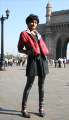 At the Gateway of India in a bomber jacket made from a vintage sari designed by Goa based designer Miriam strehlau  See more of Miriam s sari creations at  a href  http   www miriam strehlau com  miriam strehlau com  a      br  br Happy birthday  lil  sis